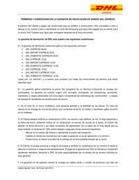 TERMINOS Y CONDICIONES DE LA GARANTÍA DE DEVOLUCION DE DINERO DHL EXPRESS