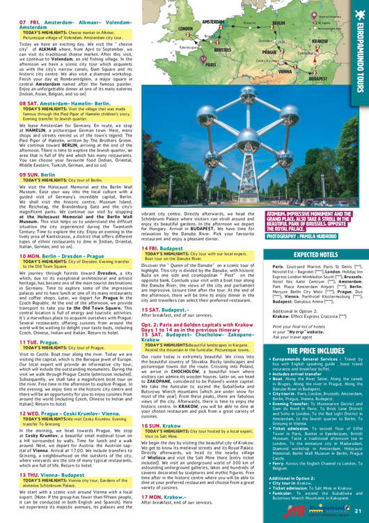 Ofertas de Europamundo, Circuitos en Inglés