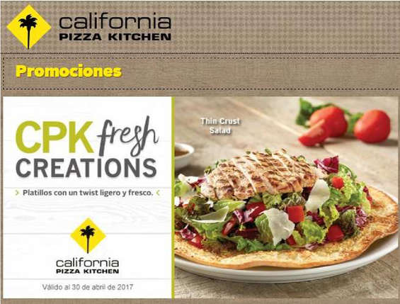 Ofertas de California Pizza Kitchen, cpk fresh creations