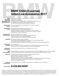 Ficha Técnica BMW 120iA (3 puertas) Urban Line Automático 2017