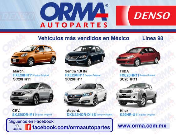Ofertas de Orma Autopartes, Vehículos más vendidos en los cuales Denso es equipo original