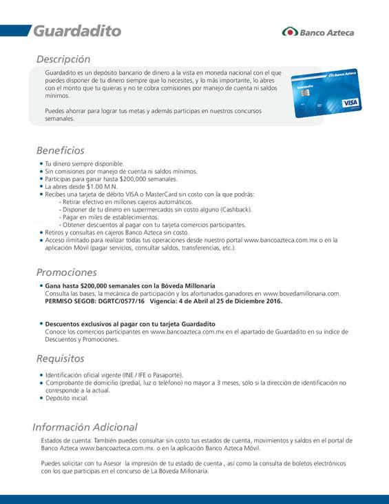 Ofertas de Banco Azteca, Ficha Técnica Guardadito