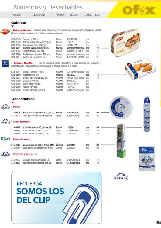 Ofertas de Ofix, Catálogo de productos