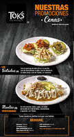 Ofertas de Toks Restaurante, Menú Cenas