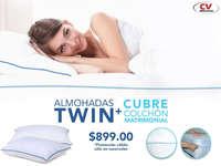 Almohadas twin + cubre colchón