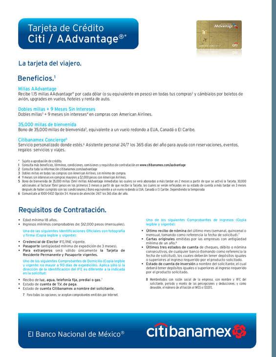 Ofertas de Citibanamex, Tarjeta de crédito Citi AAdvantage