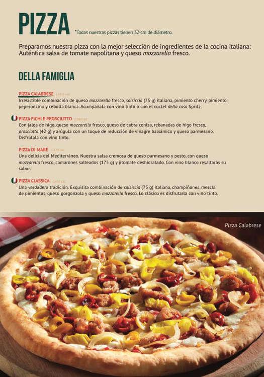 Ofertas de Italianni's, Menú