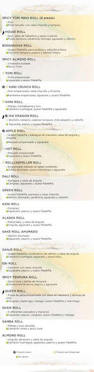 Ofertas de Sushi Roll, Menú
