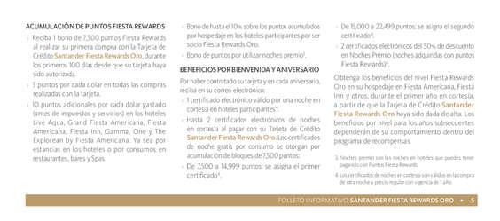 Ofertas de Santander, Santander Fiesta Rewards Oro