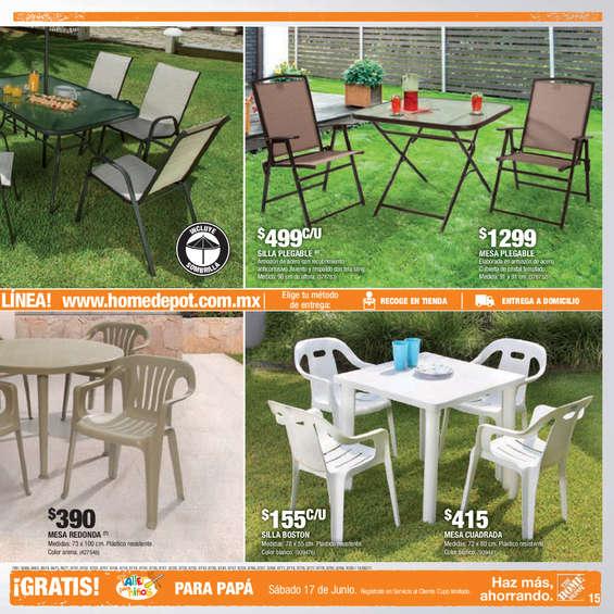 Conjunto mesa sillas y sombrilla en ju rez cat logos for Sillas para jardin home depot