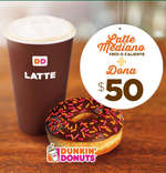 Ofertas de Dunkin' Donuts, Latte Mediano + Dona $50.00