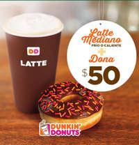 Latte Mediano + Dona $50.00