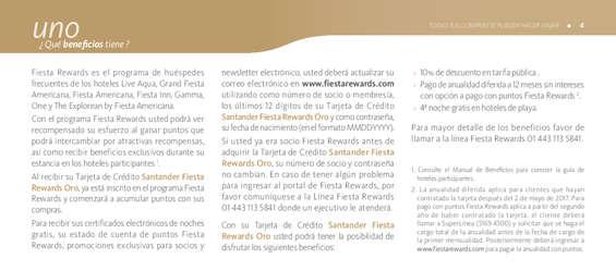 Ofertas de Santander, Folleto Informativo Fiesta Rewards Oro