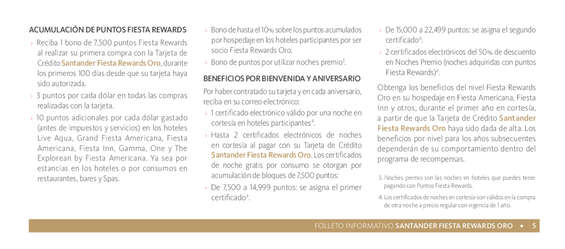 Ofertas de Santander, Folleto Informativo Fiesta Rewards Oro