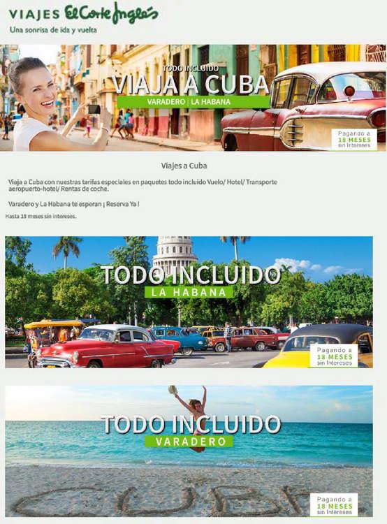 Ofertas de Viajes El Corte Inglés, Cuba