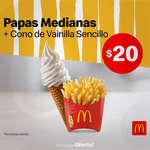 Ofertas de McDonald's, Papas medianas + cono de vainilla sencillo